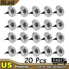 New listing 20Pcs 8 Led Solar Disk Lights Ground Buried Garden Lawn Deck Path Outdoor Ip65