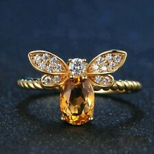 Bee Natural Oval Citrine & Diamond Ring In 14K Yellow Gold Over Stunning Look