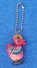 Vintage folk art Carved colorful wooden bird chicken ball chain key fob ring NR