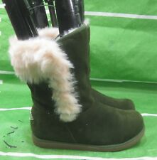 NEW LADIES GREEN Winter  Flat Ankle Boot Fur Inside Size   7.5