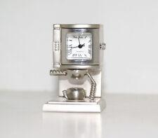 Espresso Coffee Maker Machine Miniature Silver Metal Desk Clock Mini Paperweight