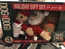 NEW Holiday Gift Set for your Dog, 3 piece Squeaky Santa Clause
