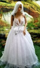 SAMPLE GOWN - EDEN White Lace Backless Boho Garden Nymph Bridal Wedding Ballgown