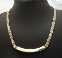 Shiny Byzantine Chain Necklace with Engravable Curved Bar Real 14K Yellow Gold