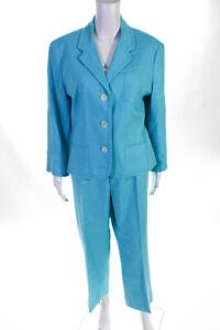 Lauren Ralph Lauren Women's Button Down Pants Suit Linen Blue Size 16
