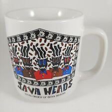 vtg 90s MAGRAPHICS 8oz Colorful Java Heads / Bean Brains Retro Coffee Mug Cup
