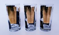 3 Cera Black 22K Gold Coin Highball Glasses Mid Century Barware