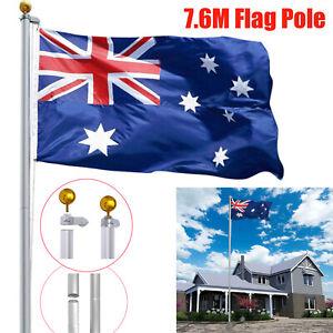 7.6M Aluminium Flag Pole Kit Australian Aussie Sectional 8 Section Flagpole Set