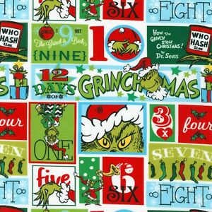 Grinch That Stole Christmas Fabric BTY, Patch Holiday Seuss, ADE20275223