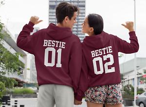 Bestie 01 Bestie 02 Hoodie Hoody Novelty Hooded Sweatshirt Matching Friends