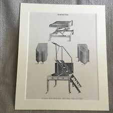 Antique Print Sheraton Furniture Library Steps Ladder Gout Stool Box