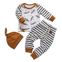 3pcs/set Autumn Feather Print Striped Kids Long Sleeve Tops Long Pants Cap