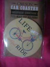 """Carson Car Coaster Absorbent Stoneware """"Life is a Beautiful Ride"""" bike Drink"""