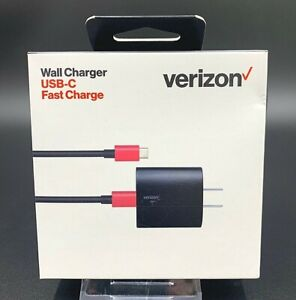 100% Original Verizon Wall Charger USB-C Fast Charge   Black / Red   💎NEW💎