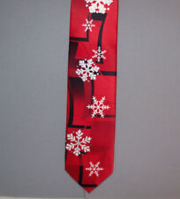 Hallmark's Holiday Traditions SNOWFLAKES Red Polyester Microfiber Neck Tie #757