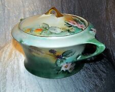 """~ HUTSCHENREUTHER SERVING BOWL LIDDED Hand Painted BAVARIA 10"""" Marked c1910"""