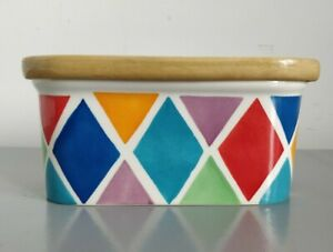 Whittard of Chelsea Harlequin Diamond Design Ceramic Butter Dish with Wooden Lid