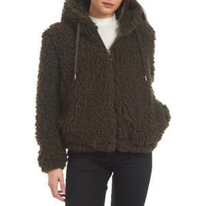 Kendall + Kylie Women's Shaggy Faux Fur Teddy Coat with Drawstring Hood