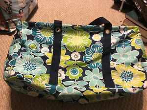 Thirty One Large Utility Tote Green Blue Flowers