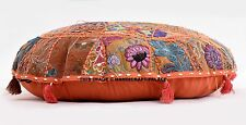 "32"" Orange Patchwork Decorative Floor Cushion Seating Throw Cover Bohemian Boho"