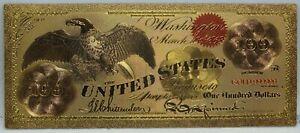 """1863 $100 Legal Tender Eagle Novelty 24K Gold Foil Plated Note Bill 6"""" LG331"""