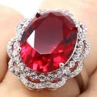 Gorgeous 8Ct Red Ruby Ring Women Anniversary Birthday Wedding Engagement Jewelry