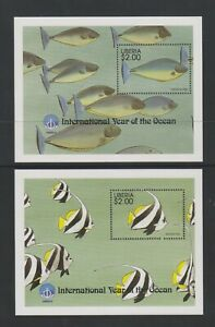 Liberia - 1998, International Year of the Ocean, Fish sheets x 2 - MNH
