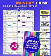 Choose 2 3 4 5 Columns Large A3 Personalised Family Calendar Organiser 2018 2019