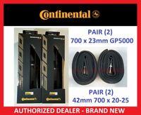 PAIR 2 CONTINENTAL Grand Prix GP 5000 Clincher 700c x 23 TIRES 42 mm INNER TUBES