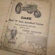 Case D Series Agricultural Tractor Parts Manual Book Catalog List Farm 1939 1941
