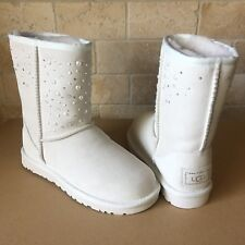 UGG Classic Short Everlasting Swarovski Bling White Suede Boots Size US 7 Womens