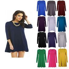 Womens Ladies Long Sleeve Skater Swing Dress Jersey Flared Tea Plain Party Dress