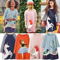 2020 Kids Baby Girls Party Dress Top Long Sleeve Stripe Animal Print Dresses UK