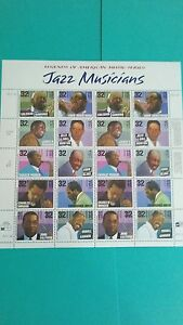 Jazz musicians Issue Stamp Sheet of 20 2992a Mint.#