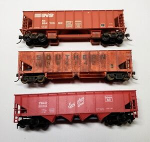 3 HO Orange Hoppers Southern, Norfolk Southern & Chicago Burlington Quincy CB&Q