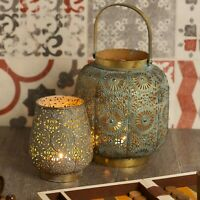 Metal Antique Effect Hanging Moroccan Style Candle Lantern Tea Light Holder