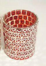 Yankee Candle Mirrored Mosaic Hearts Tealight Candle Holder, Nib