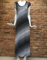 WALLIS Black White Stripe Print Stretch Summer Holiday Maxi Dress Size S 8-10