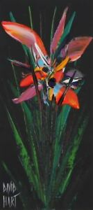 David HART Wild Orchid (Black) ORIGINAL PAINTING + Certificate of Authenticity