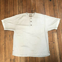 Tommy Bahama Short Sleeve Henley Silk Bamboo Light Green Men's Size Large