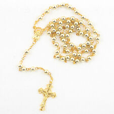 Catholic  Gold tone Beads Rosary Necklace  (US SELLER)