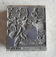 Unusual Vintage Wood Metal Print Block for Comic Strip with Two Men Talking LOOK