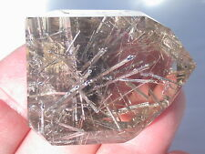SMOKY RUTILATED QUARTZ NATURAL STONE POLISHED CRYSTAL LAPIDARY CAB BRAZIL