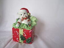 Fitz & and Floyd Christmas Kitty Kringle Lidded Box Cat Kitten NEW in BOX MINT