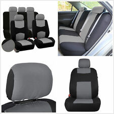 9Pcs Breathable Car Seat Covers Set Auto Front Rear 5 Seats Headrests Gray Black