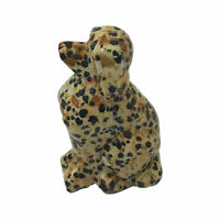 Beautiful Hand Carved Dog Dalmatian Jasper Crystal Gemstone Sculpture Figurine