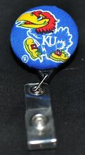 University of Kansas Fabric Covered Retractable Badge Reel with Alligator Clip