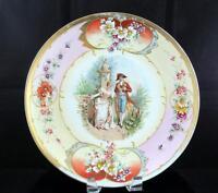 """DRECHEL & STROBEL/WINTERLING ANTIQUE FRENCH COUPLE 11 7/8"""" WALL PLATE 1897-1903"""