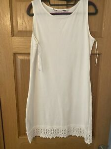 dorothy perkins Cream Beach Dress Cover Up Size 14 New No Tags Embroided