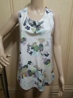 3.1 Phillip Lim Ivory Floral Print Sleeveless Draped Cowl Neck Blouse Top Size 0